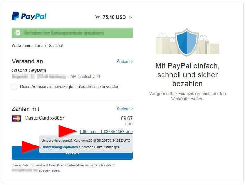 Die Paypal Gebühren verstecken sich hinter den Umrechnungsoptionen