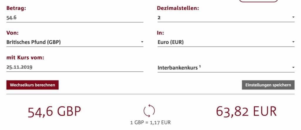 Paypal Währungsumrechnung Gebühren berechnen.