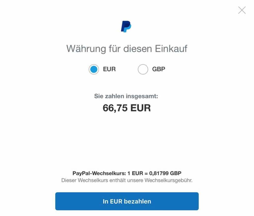 Die Paypal Währungsumrechnungsgebühr ist im Paypal Wechselkurs versteckt.